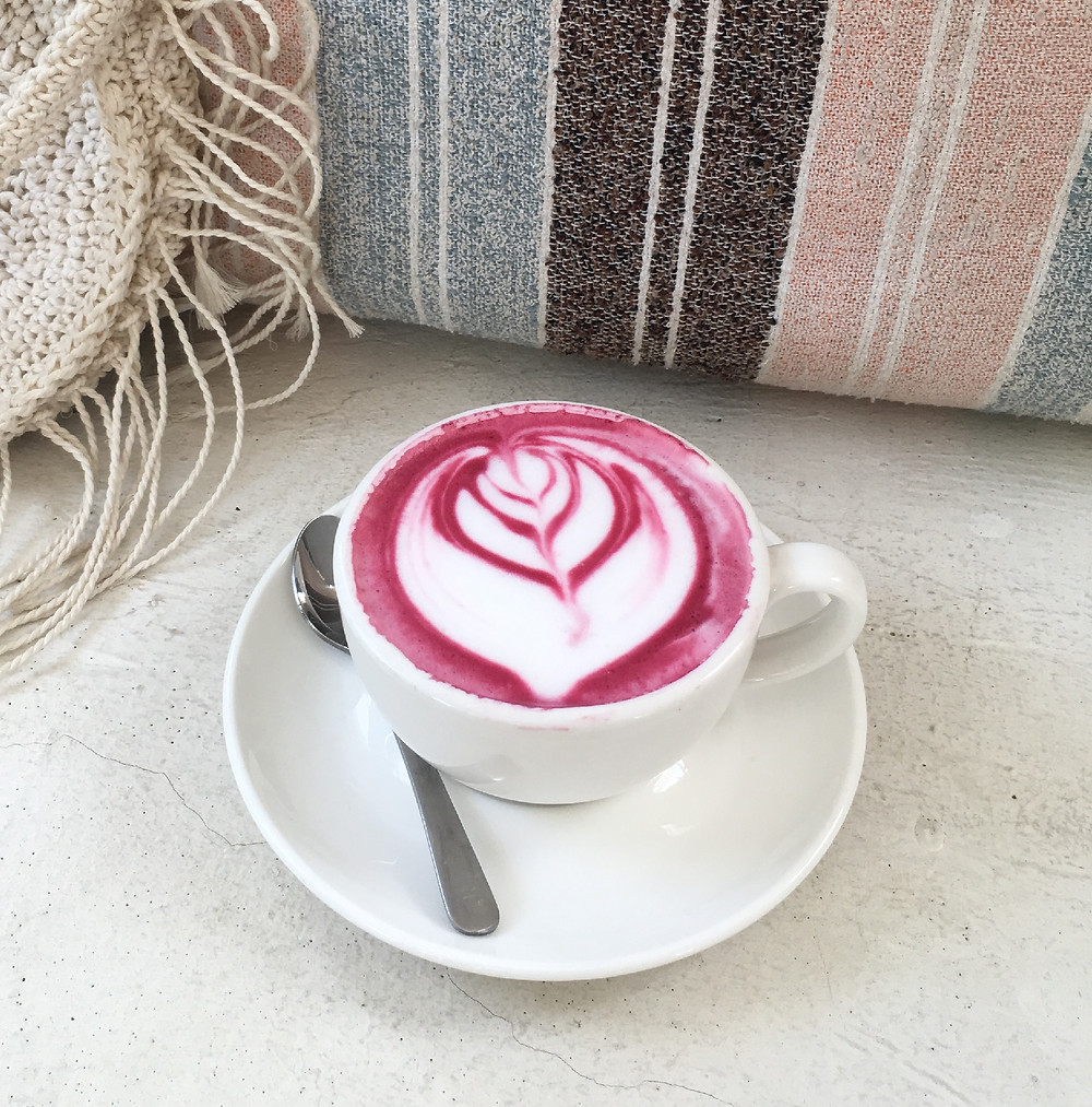 Beetroot Latte at Kenza Cafe Lombok