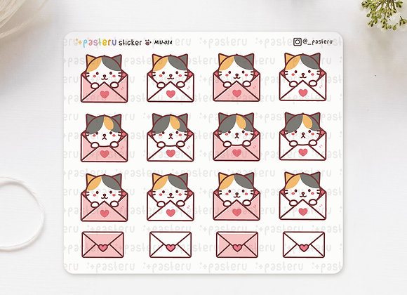 Cat In Love Envelope Stickers