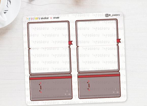 Grey Notebook Foldover Stickers