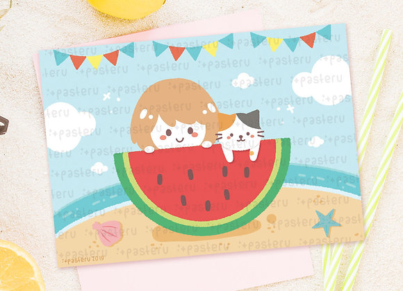 Summer Watermelon - Journaling Card