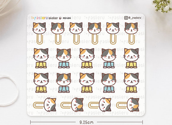 Paper Clip Cat Head Stickers