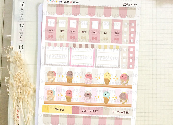 Kawaii Ice Cream - Hobonichi Weeks Kit