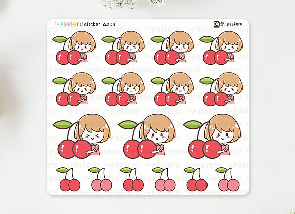 Holding Cherry Stickers