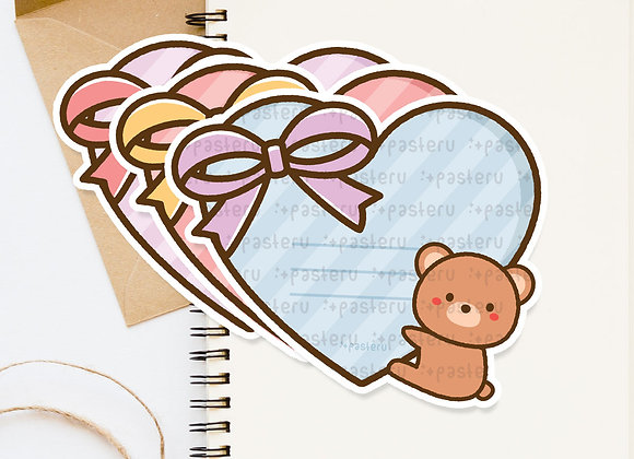Valentine Bear Heart Diecut Card