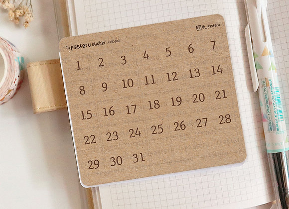 Kraft Number Date Square Stickers