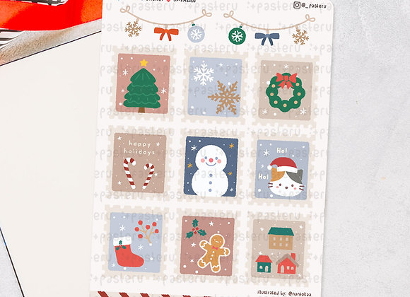 Cute Christmas Postage Stamps - Digital Download