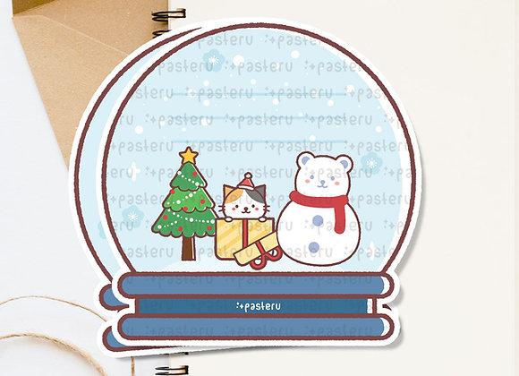 Kawaii Snow Dome Diecut Card