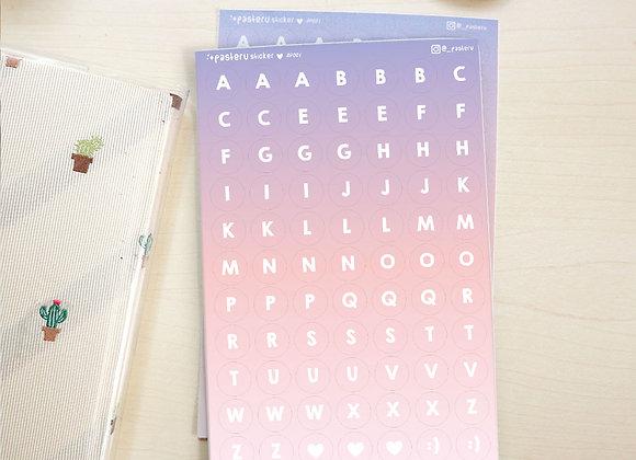 Oopsie - Purple Alphabet Circle Stickers