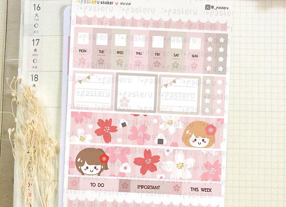 Girls Sakura Pattern - Hobonichi Weeks Kit