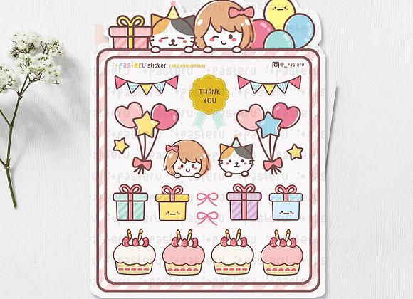 Shaped Anniversary Sticker Sheet - limited