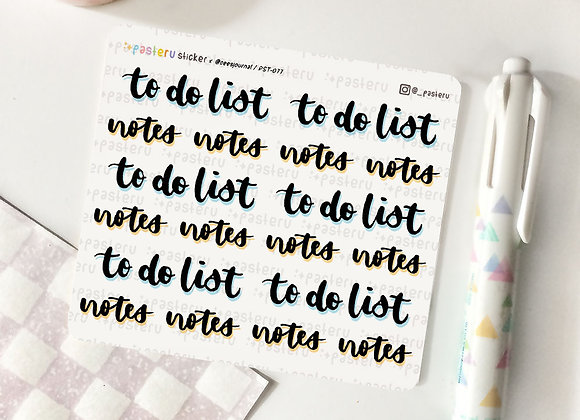 To do list / Notes - 077