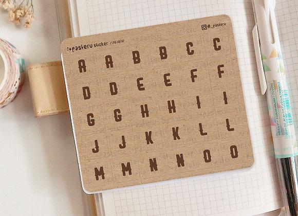 Kraft Alphabet Square Stickers