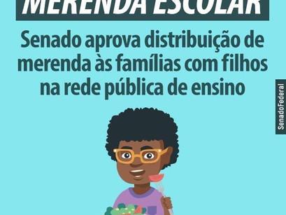 PL aprovada no Senado autoriza que a merenda escolar seja distribuída para as famílias de estudantes