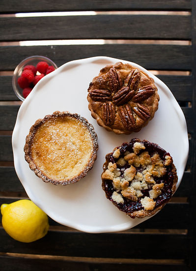 Lemon raspberry pecan Giving Pies