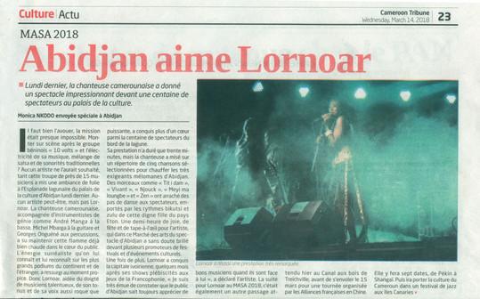 Article Cameroon Tribubune  ABIDJAN aime LORNOARne