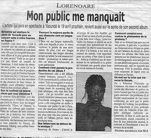 Annonce du concert de Lornoar IFC Yaoundé avril 2014