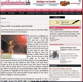 LORNOAE 1er prix du FESTIVAL MASSAO des voix féminines