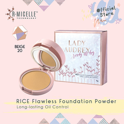 Lady Audrey Rice Flawless Foundation Powder Long-Lasting Oil Control Beige 20
