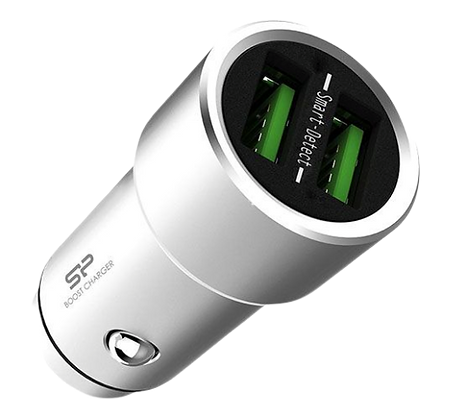 Silicone Power Car Charger 3.6A Dual Usb Robust Zinc Alloy Casing - Silver