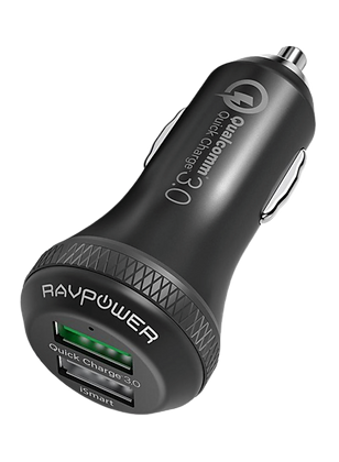 Dual Port USB Car Charger Black
