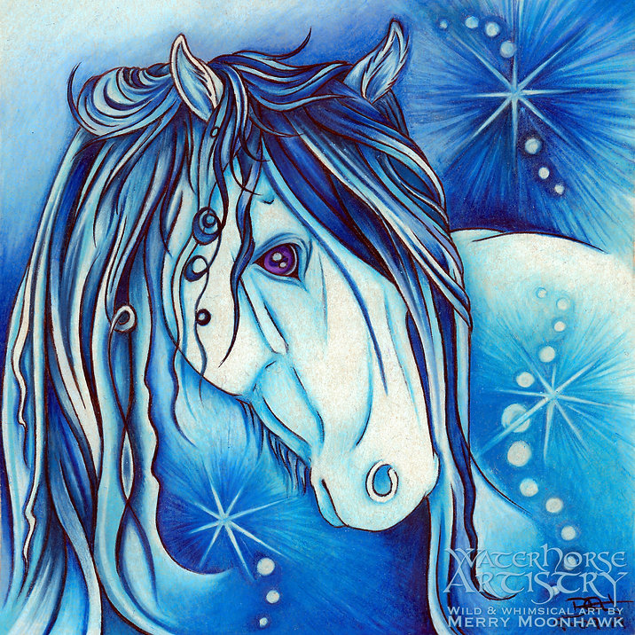 Diamond PRECIOUS STONE blue Highland Pony horse gemstone art illustration