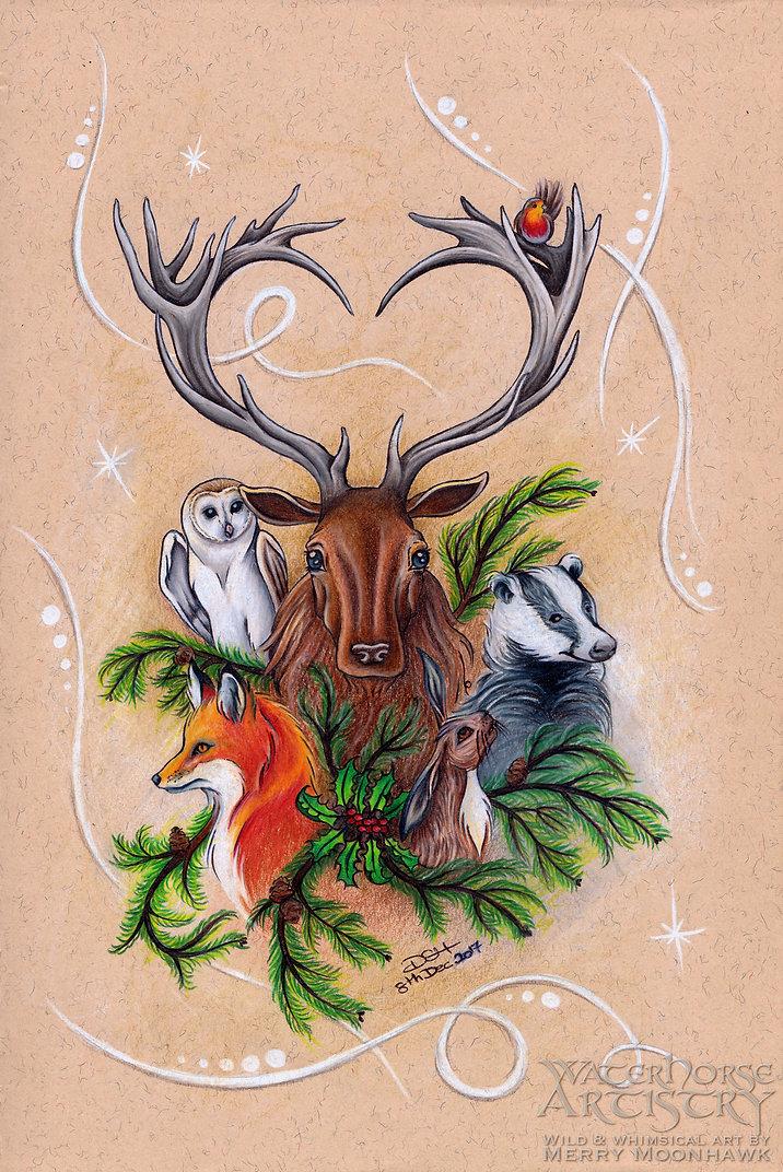 Yuletide Brethren WITHIN THE WILDWOOD stag robin fox badger hare barn owl festive winter animals art ilustraton