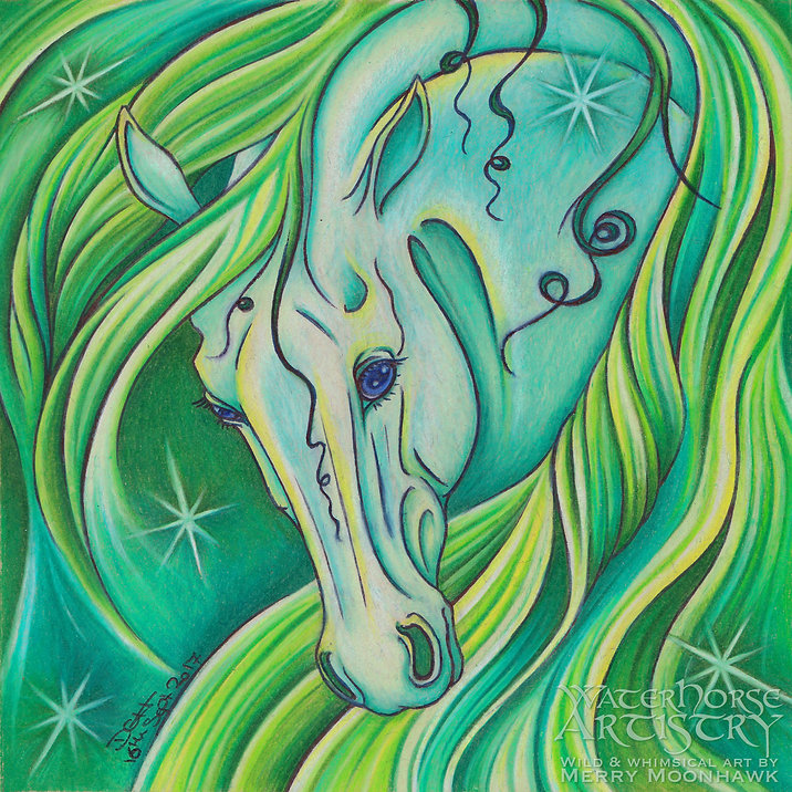 Emerald PRECIOUS STONE green horse gemstone art illustration