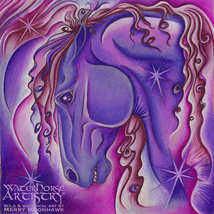 Amethyst PRECIOUS STONE purple horse gemstone art illustration