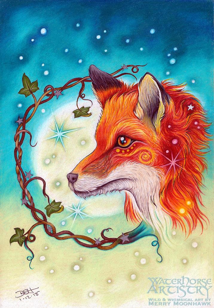 Midwinter Moon vixen fantasy fox winter art illustration