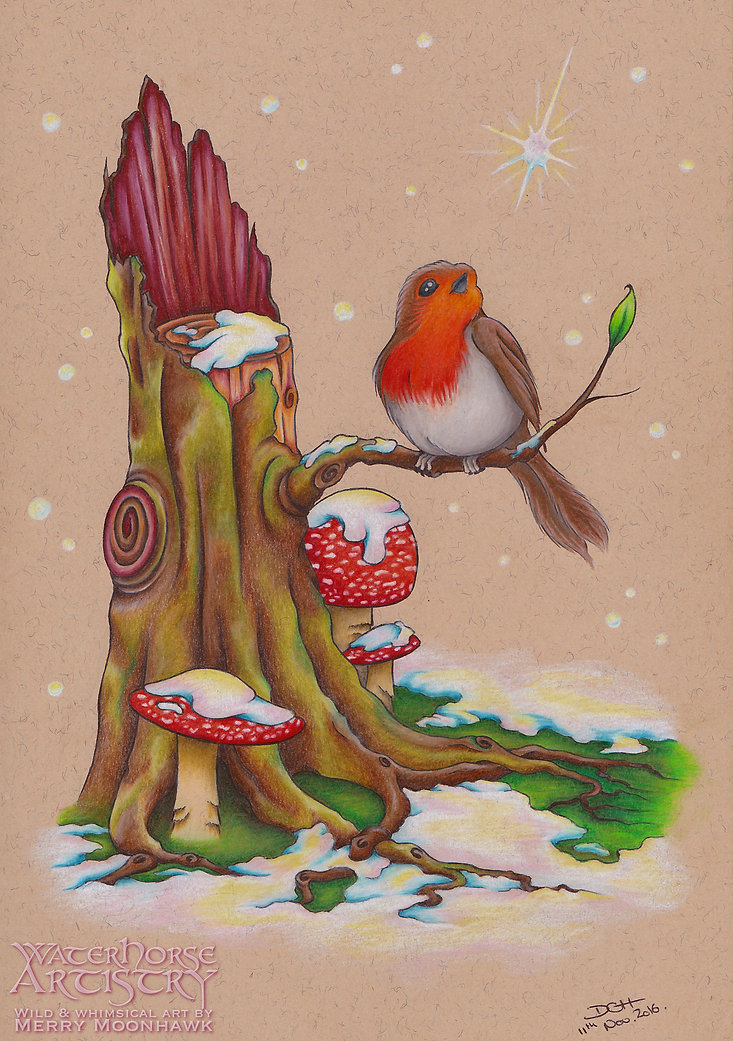 Snowgazer WITHIN THE WILDWOOD snow robin sapling nature winter art illustration