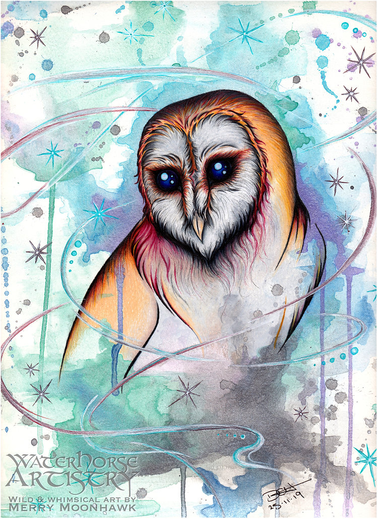 Upon Wings Of Wisdom barn owl fantasy snowstorm winter art illustration