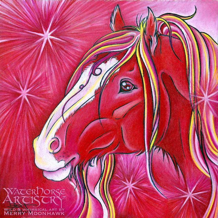 Ruby PRECIOUS STONE red Shire horse mare gemstone art illustration