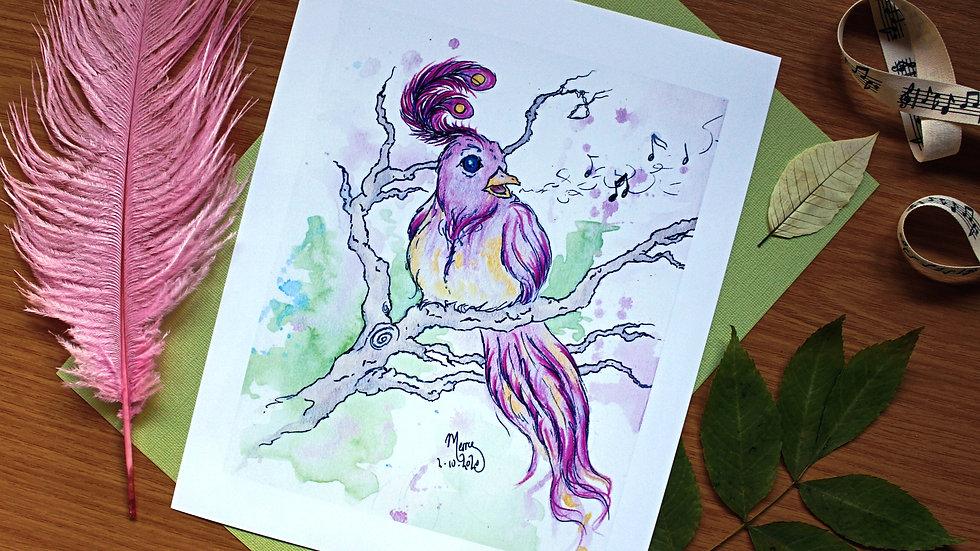 Plume Crested Lullaby Wren - Art Print