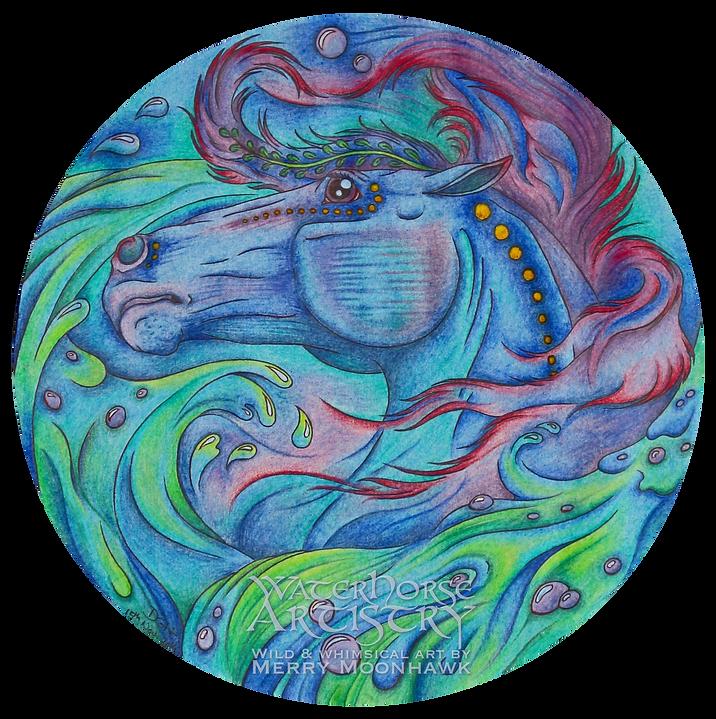 The WaterHorse Celtic kelpie scottish Mythology art illustration