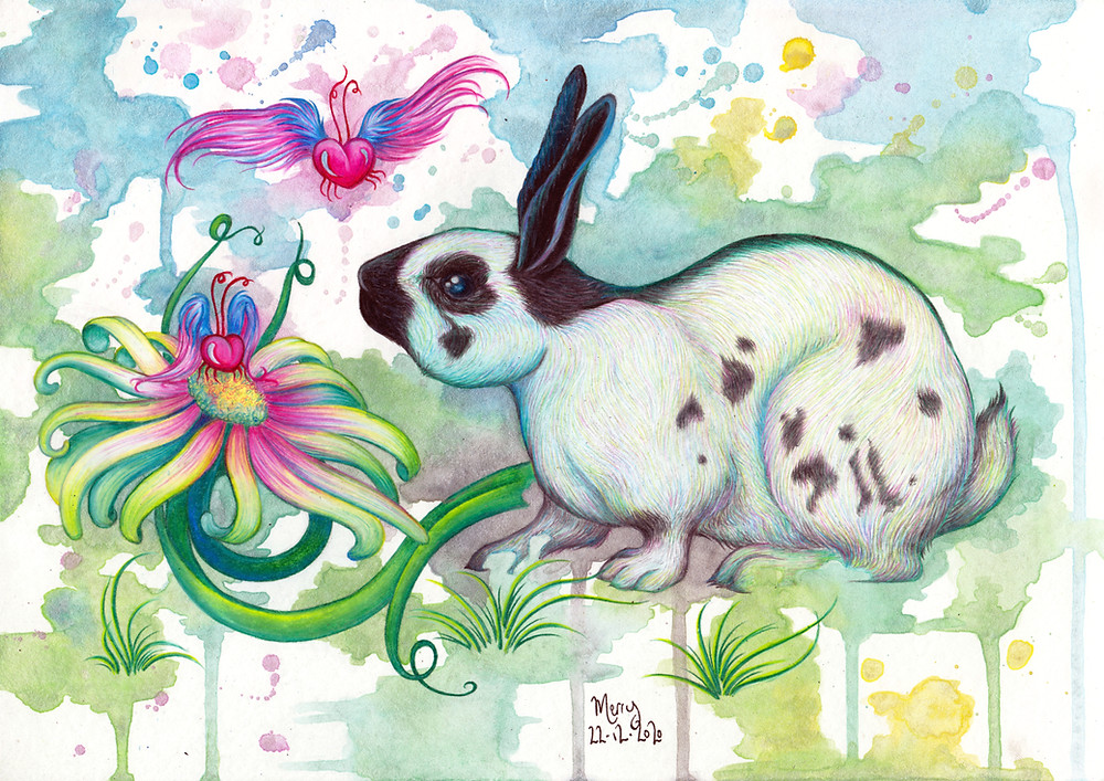 Swifty: magical animal portrait illustration commission featuring a rabbit.