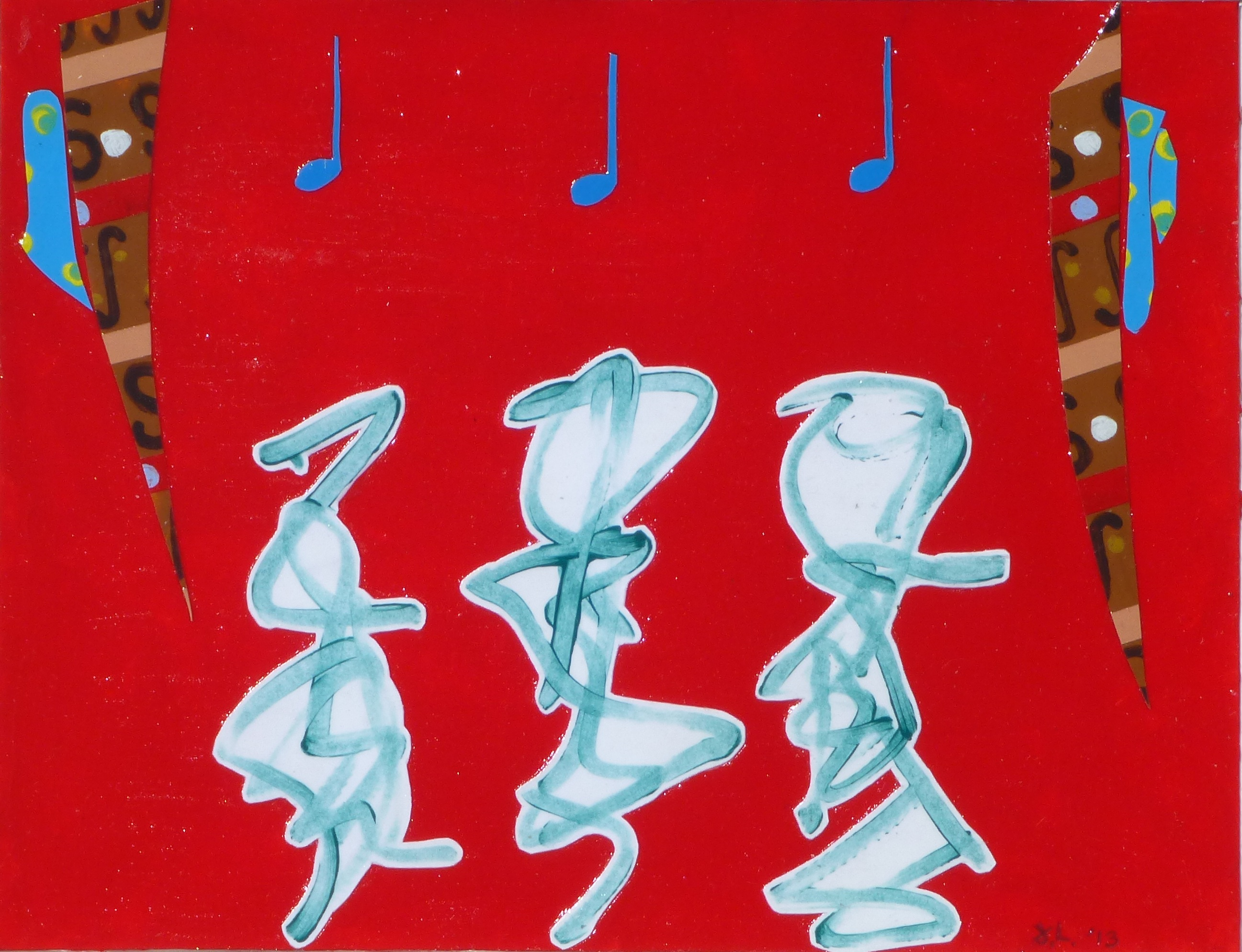 Dancing Figures with Red Sky