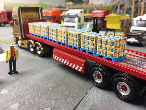 1:76 3D Printed Blue Cement Bag Pallet with Load - 10pk