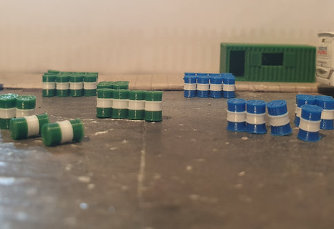 1:148 / N Gauge Barrels: Green+White and Blue+White...32 pkt