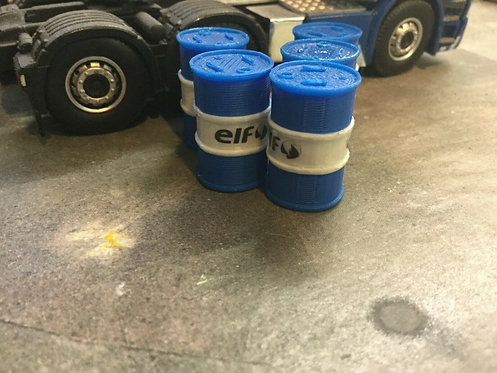Oil Barrels 1:50 scale Blue & White - 6pkt