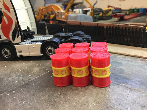 Oil Barrels 1:50 scale (Red & Yellow)  - 6pkt