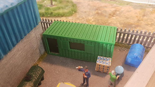 1:76 3D Printed Container Site Office (green)