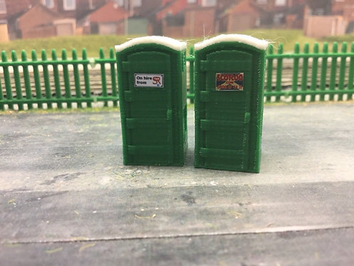 1:76 3D Printed Green Portable Toilet - 2pk