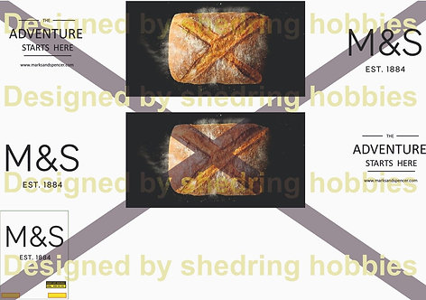 1:76 M&S Fresh Bread Decals for Oxford Diecast Box Trailer