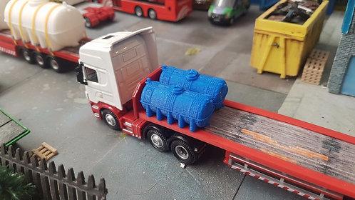 1:76 3D Printed Small fuel bowser - 2pk (blue)
