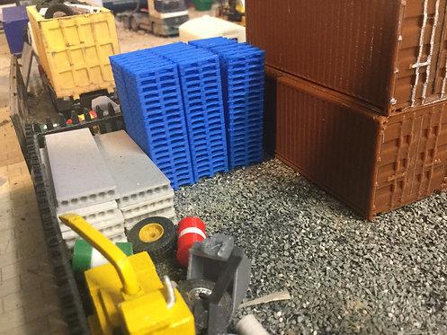 1:76 3D Printed Blue Pallet Stacks 20 high - 6 pkt