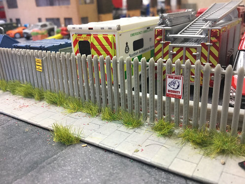 8x 50mm 1.76 Palisade Style Fence & 3x Gates 3d printed (Grey)short