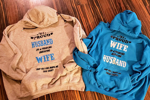 Proud Husband and Wife Hoodies