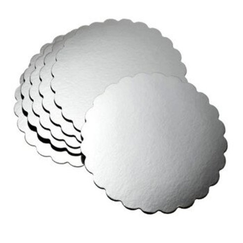 "8"" Round Scalloped Silver Cake Board"