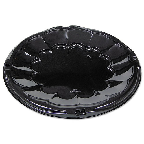 "12"" Pactiv Round Black Catering Tray"