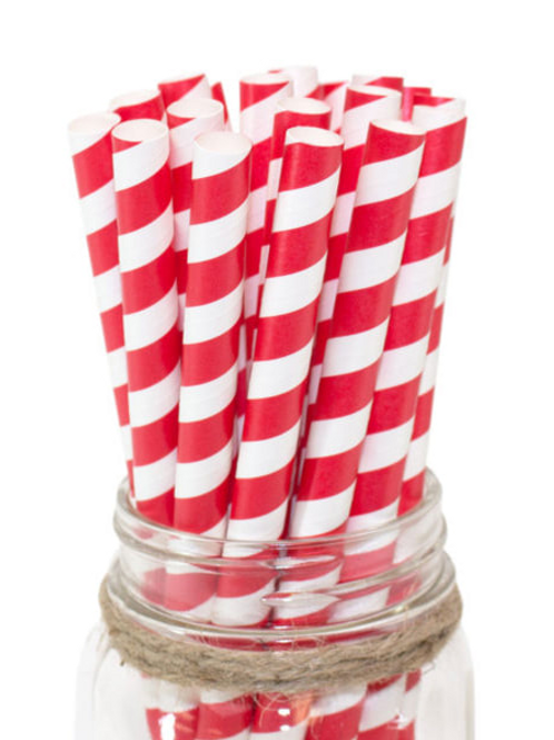 "8"" Red/White Milkshake Paper Straw 10mm"